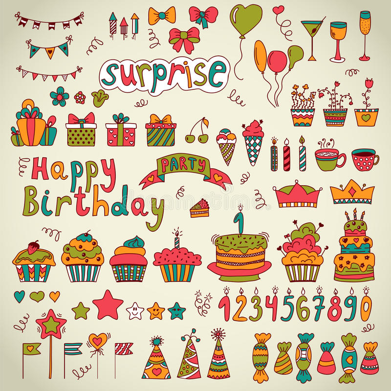 Birthday Party Design Cute Hand Drawn Elements Stock Vector