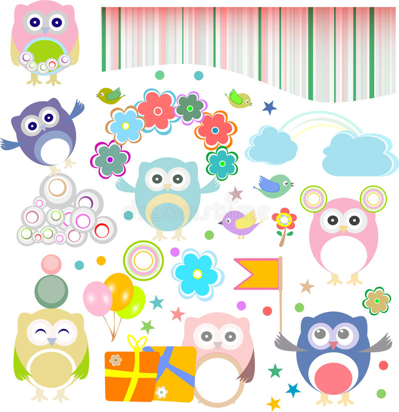 Free Birthday Party Elements With Funny Owls Stock Image - 27901991