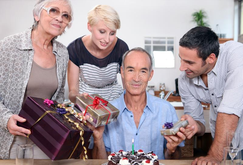 Birthday party for father stock photography