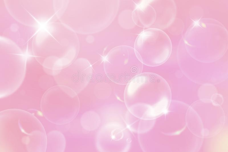 Birthday party, festival vintage blurred spring romantic background with bubbles. Tender backdrop for Christmas, New Year and vector illustration