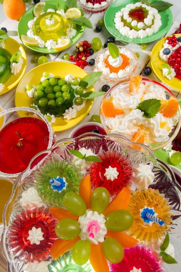 Birthday Party with fruit jelly stock images