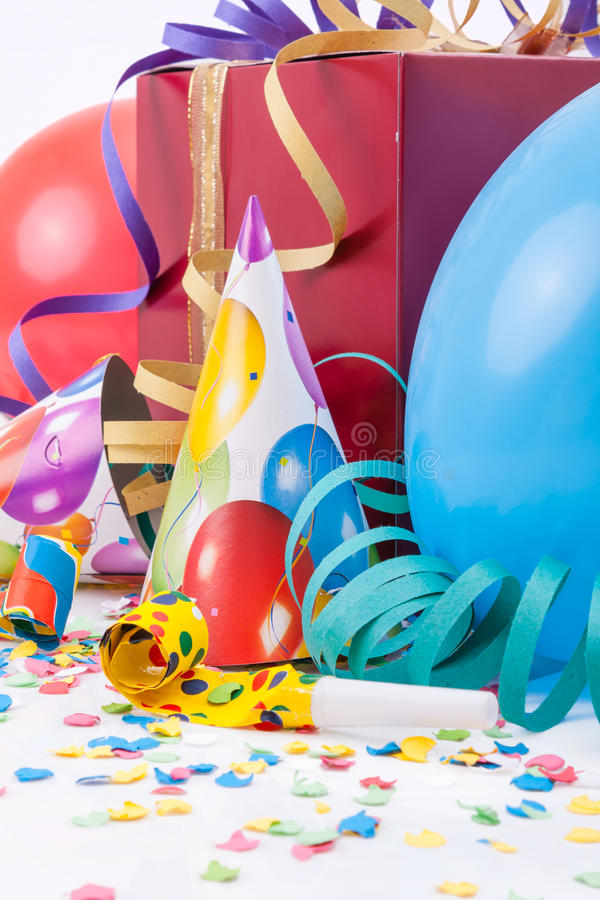 Birthday party with a gift or present box royalty free stock images