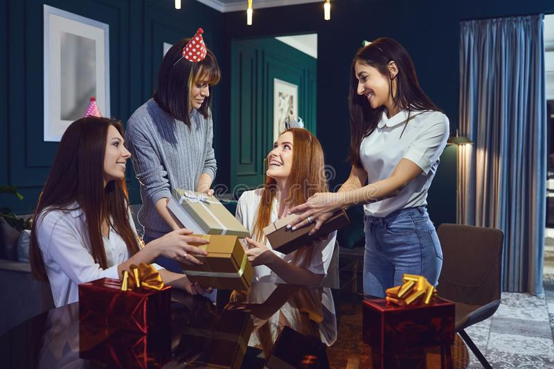 Birthday party with girls girlfriends. royalty free stock photos