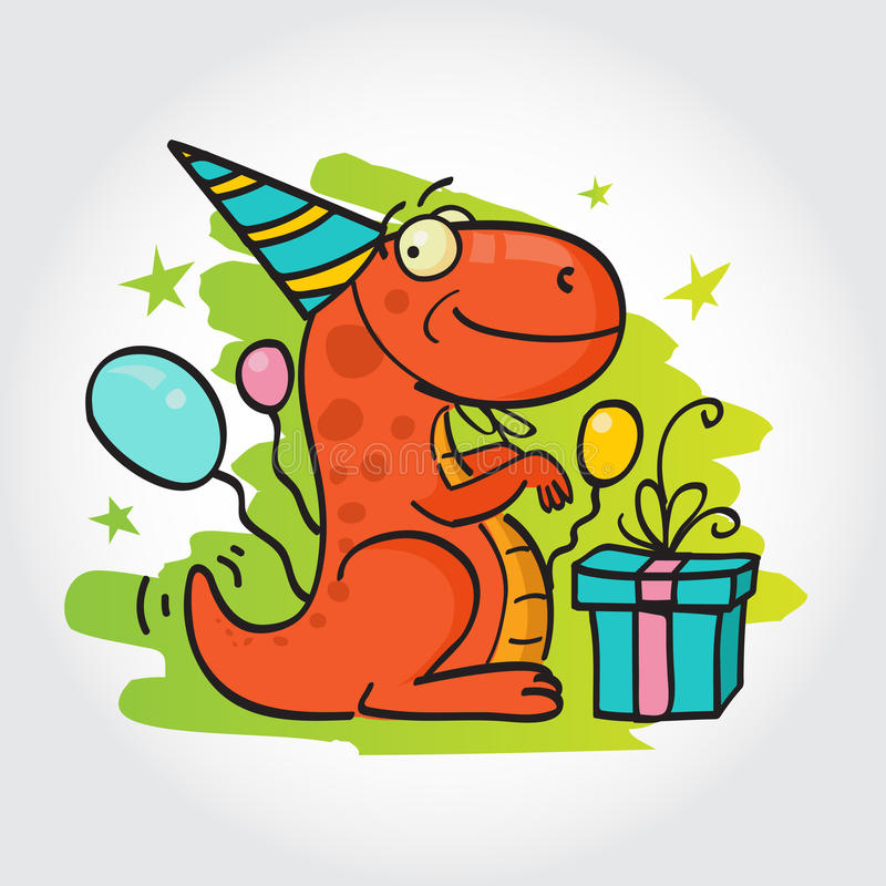 Birthday party greeting card. Smiling dinosaur at his birthday party with balloons and present royalty free illustration