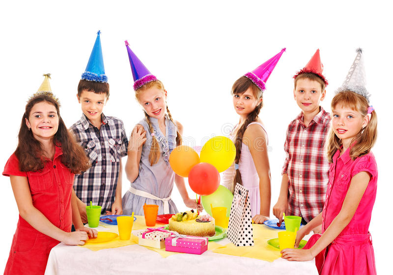 Birthday party group of child with cake. Birthday party of group teen with cake. Isolated royalty free stock photography
