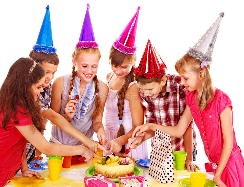 Birthday party group of child with cake. Birthday party of group teen with cake. Isolated stock image
