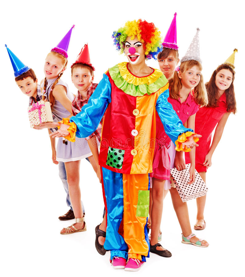 Birthday party group of teen with clown. Birthday party group of teen people with clown. Isolated stock photography