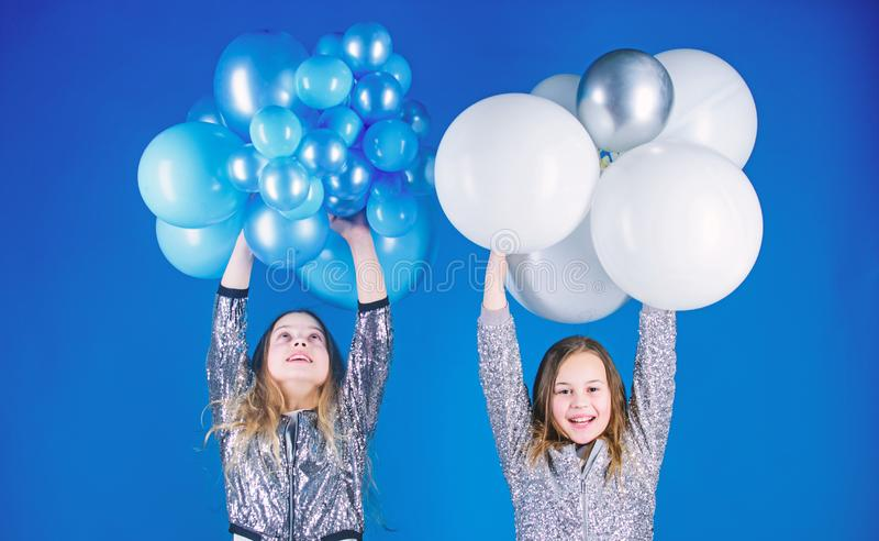 Birthday party. Happiness and cheerful moments. Carefree childhood. Start this party. Sisters organize home party stock images