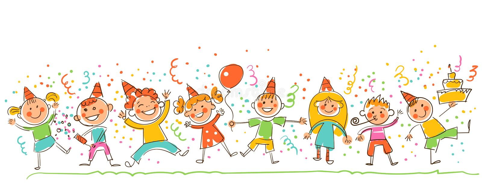 Birthday Party. In the style of children`s drawings. Birthday Party. Happy kids celebrating birthday. Template for advertising brochure. Ready for your message stock illustration