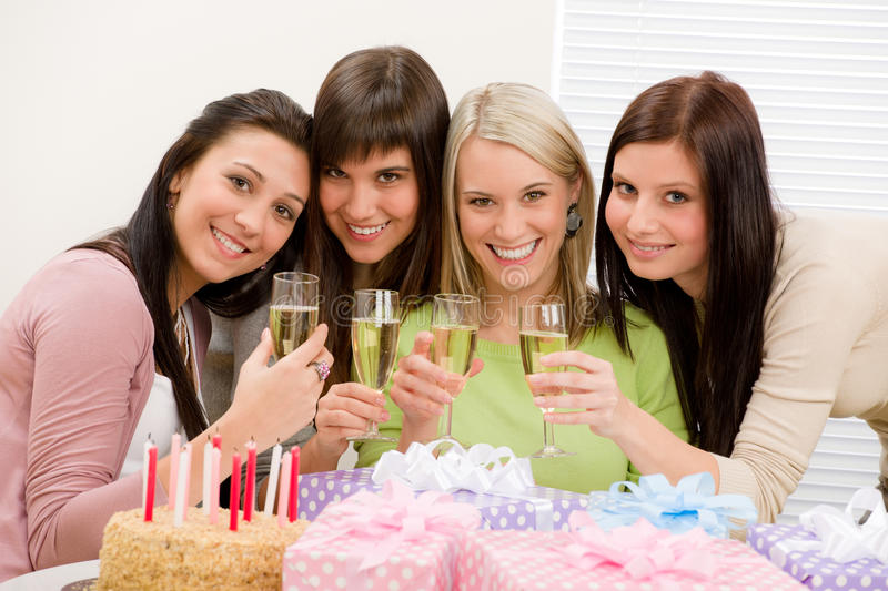 Download Birthday Party - Happy Woman Toast With Champagne Stock Photo - Image: 18376796
