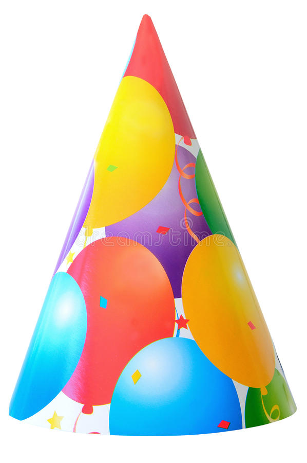Birthday party hat. Color full balloons on birthday party hat isolated on white royalty free stock images