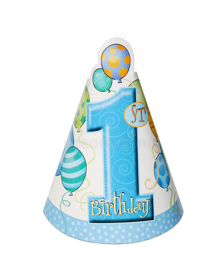 Birthday party hat. 1st birthday party hat isolated on white background stock photo