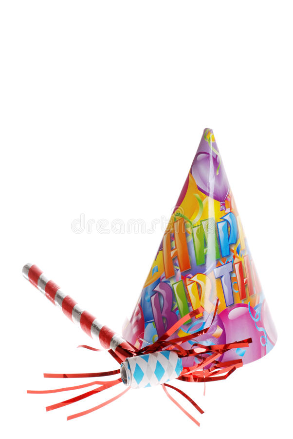 Birthday party hat and horn. Isolated birthday party hat and horn on white background royalty free stock photography