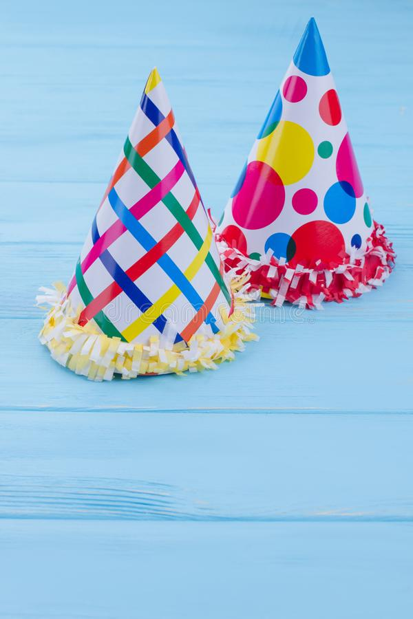 Birthday party hats for kids. stock image