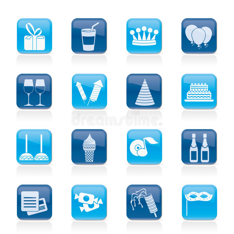 Download Birthday and party icons stock vector. Illustration of menu - 23830066