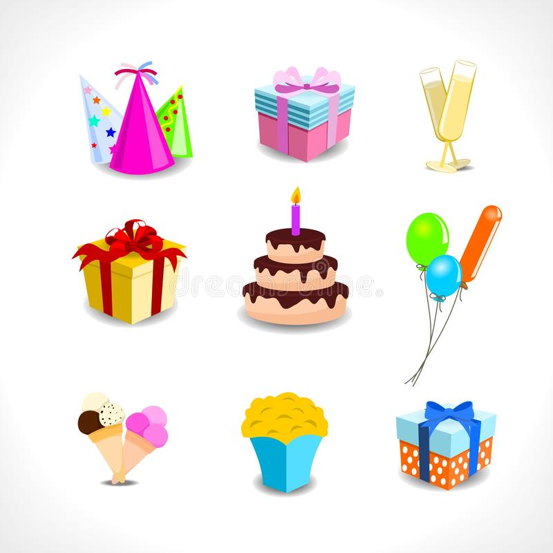 Birthday party icons vector illustration