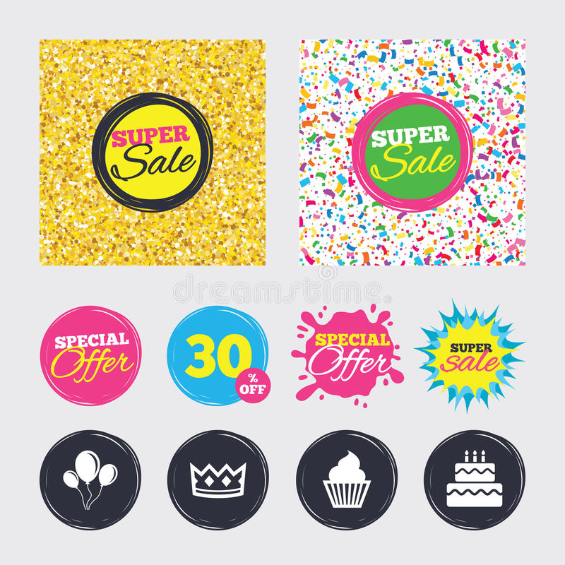 Birthday party icons. Cake and cupcake symbol. Gold glitter and confetti backgrounds. Covers, posters and flyers design. Birthday crown party icons. Cake and vector illustration