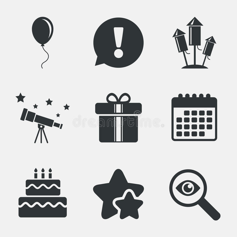 Birthday party icons. Cake and gift box symbol. Birthday party icons. Cake and gift box signs. Air balloons and fireworks rockets symbol. Attention, investigate vector illustration