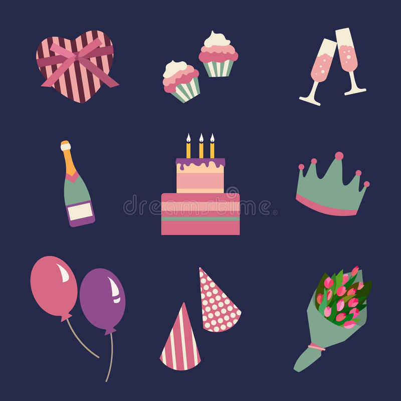 Birthday party icons set and celebration icon. Birthday collection symbols. stock illustration