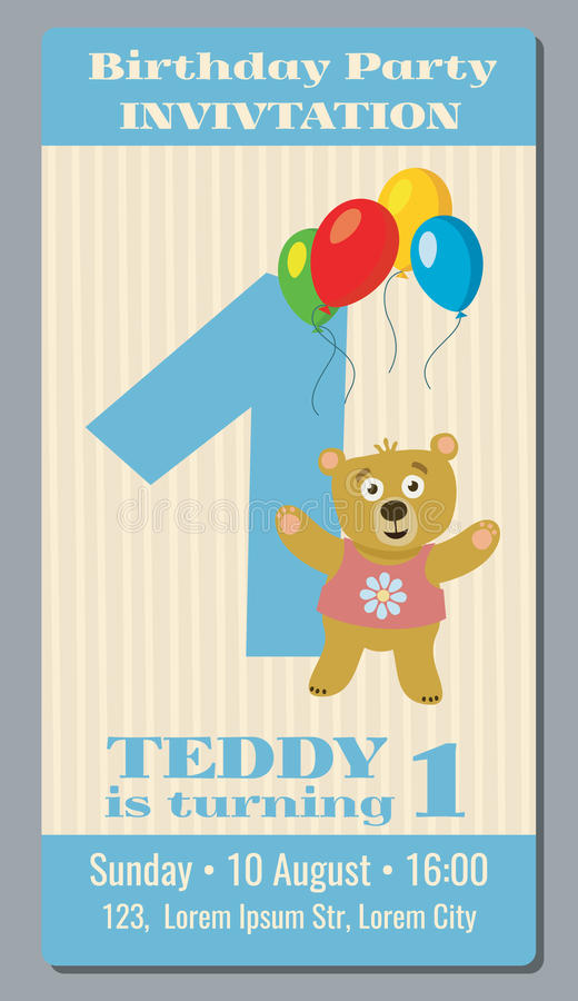 Birthday party invitation card with cute bear vector template 1 download birthday party invitation card with cute bear vector template 1 year old stock vector stopboris Gallery