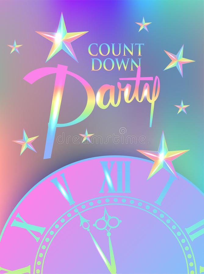 Count Down colorful banner with stars and clock. royalty free illustration