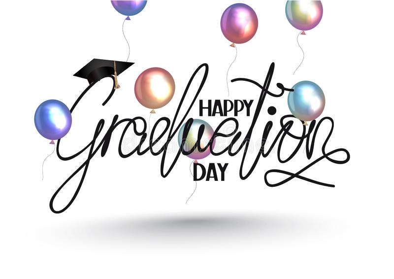 Happy Graduation day lettering and colorful air balloons. Vector illustration vector illustration