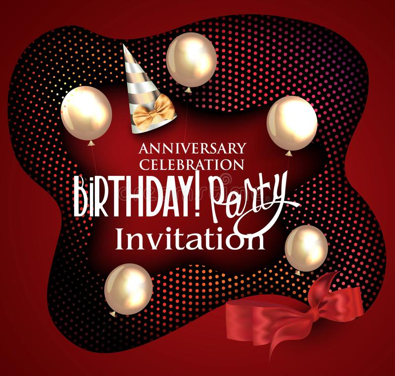 Red birthday background with air balloons and half tone background. stock illustration