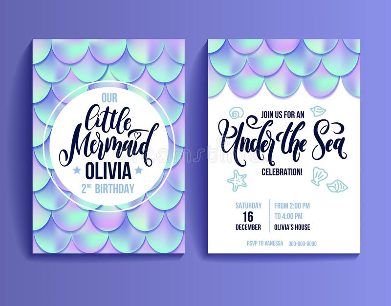 Birthday party invitation card for little girl mermaid. Holographic fish scales and lettering invitation. stock illustration