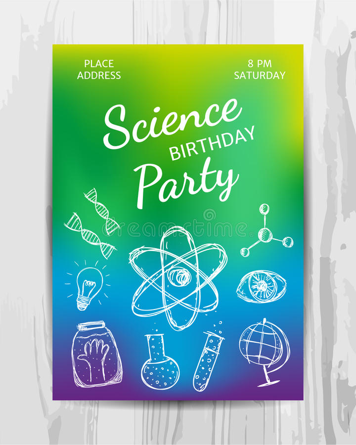 Birthday Party Invitation Card Science Party Flyer Stock Vector