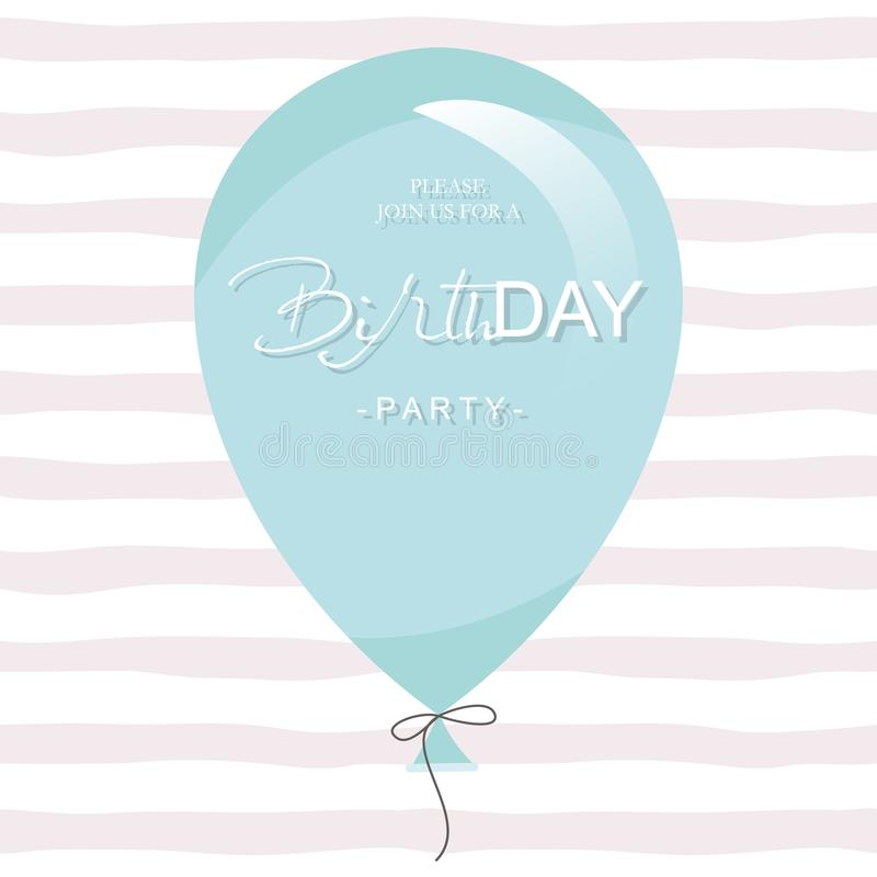 Birthday party invitation card template. Blue balloon on stripped background. royalty free illustration