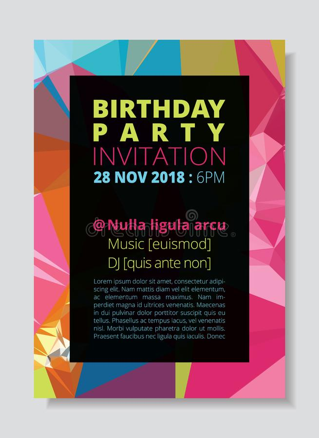 Birthday party invitation card template, colorful abstract low polygon pink background. CMYK brochure size A4 book cover design vector illustration