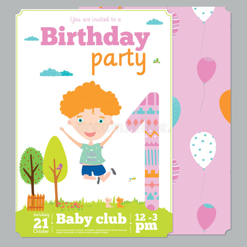 Birthday Party Invitation Card Template With Cute Stock Vector ...