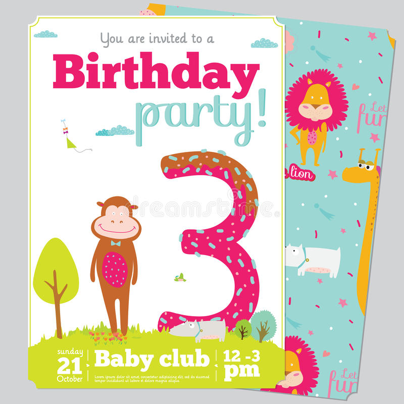 Birthday Party Invitation card template with cute stock illustration
