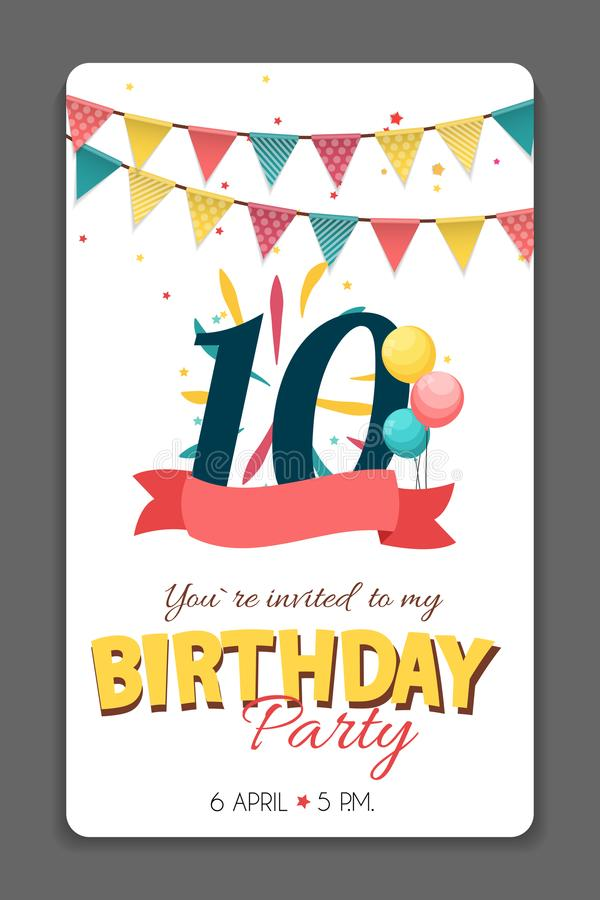 Birthday Party Invitation Card Template Vector Illustration royalty free illustration