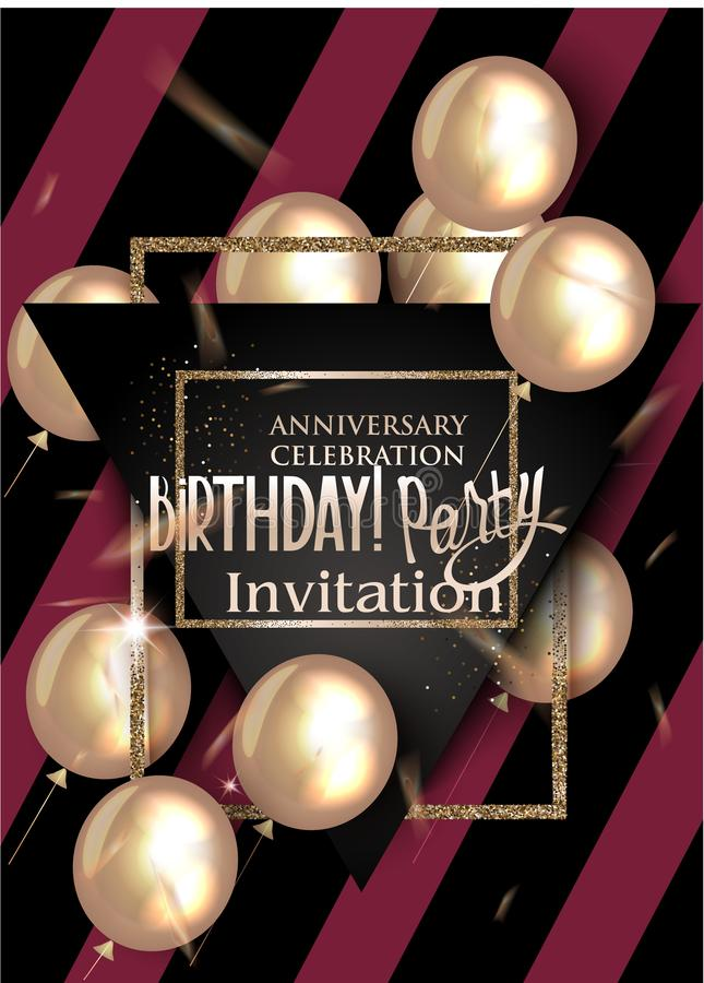 Birthday party invitation card with textured halftone effect background, air balloons. royalty free illustration