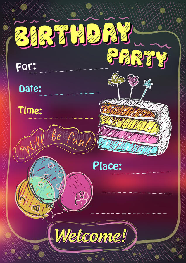 Birthday party invitation, copy space royalty free illustration