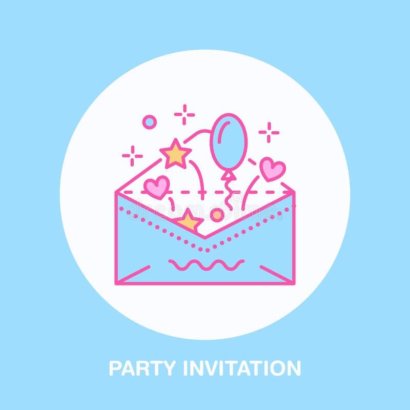 Birthday party invitation line icon vector logo for party service birthday party invitation line icon vector logo for party service or event agency linear illustration of wedding invitation in envelope stopboris Images