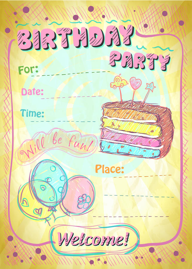 Birthday party invitation. stock illustration