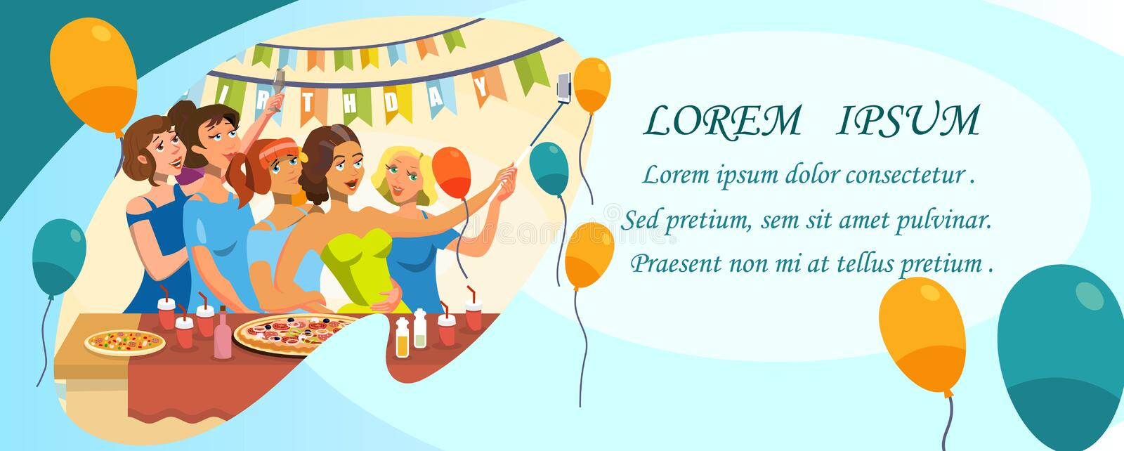 Birthday Party Invitation Template with Copyspace stock illustration