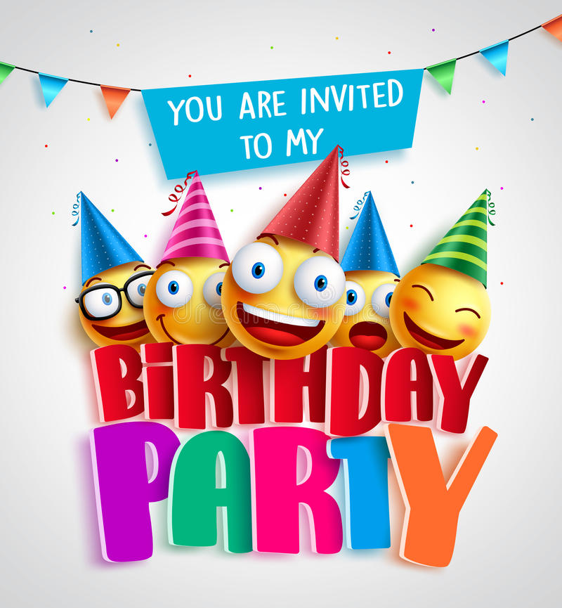Birthday party invitation vector design with happy smileys stock birthday party invitation vector design with happy smileys wearing colorful birthday hats in 3d text in white background vector illustration filmwisefo