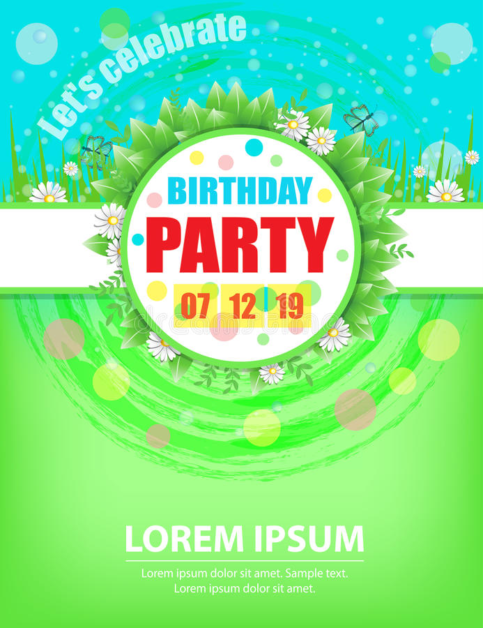 Birthday party invitations design template for spring or summer royalty free illustration