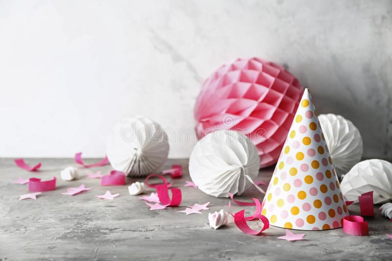 Birthday party items on table stock photography