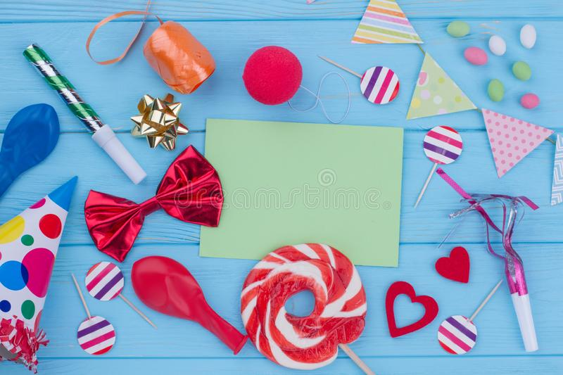 Birthday party items on wooden background. royalty free stock photos