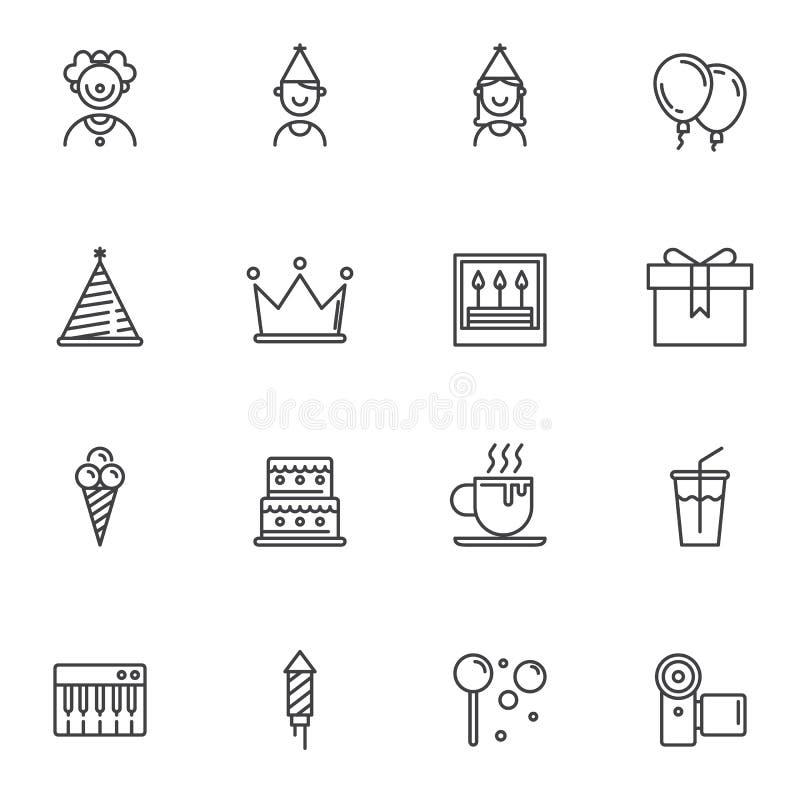 Birthday party line icons set stock illustration