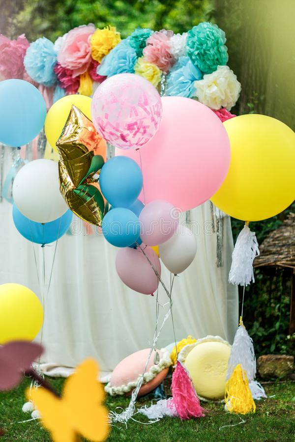 Decoration with balloons for a baby birthday party royalty free stock image