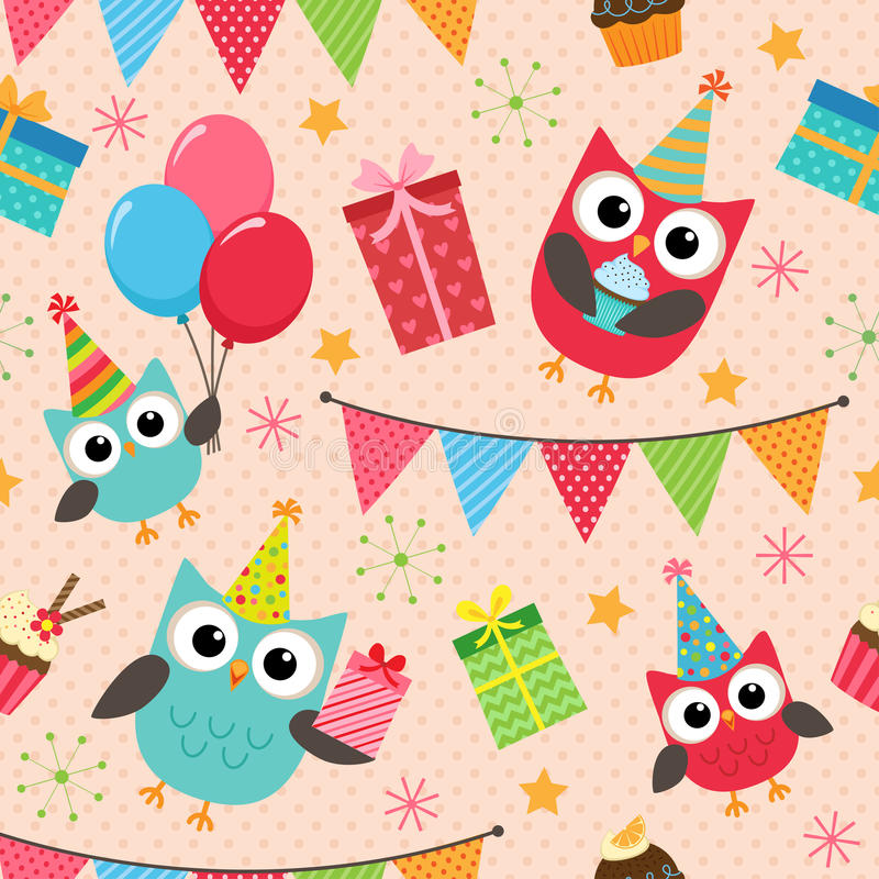 Birthday party pattern. Vector birthday party background with cute owls vector illustration