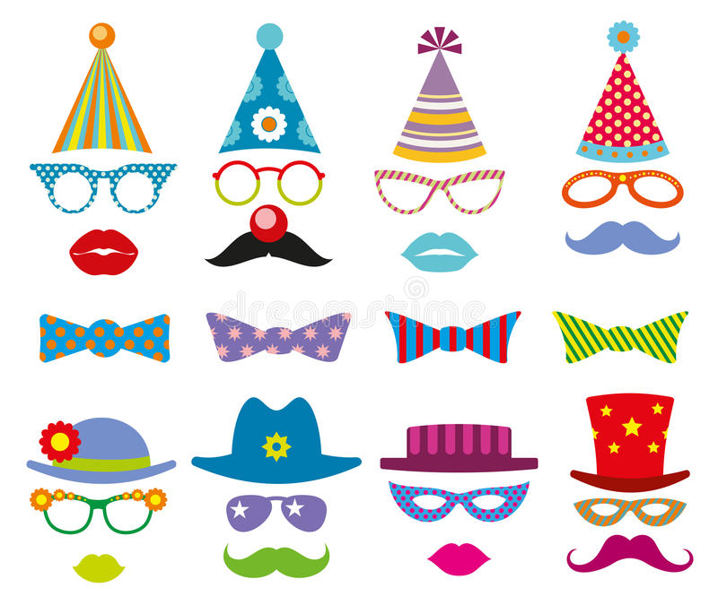 Birthday party photo booth props vector set royalty free illustration