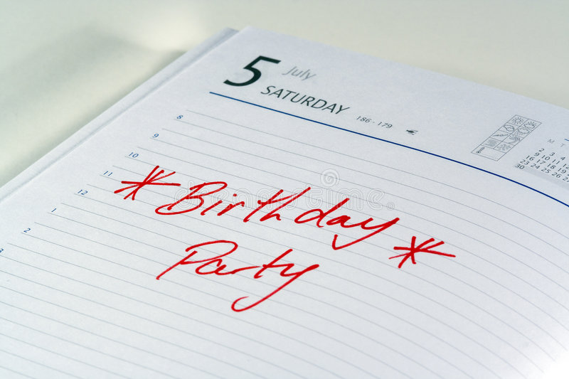 Download Birthday Party Reminder stock photo. Image of diary, urgent - 516014