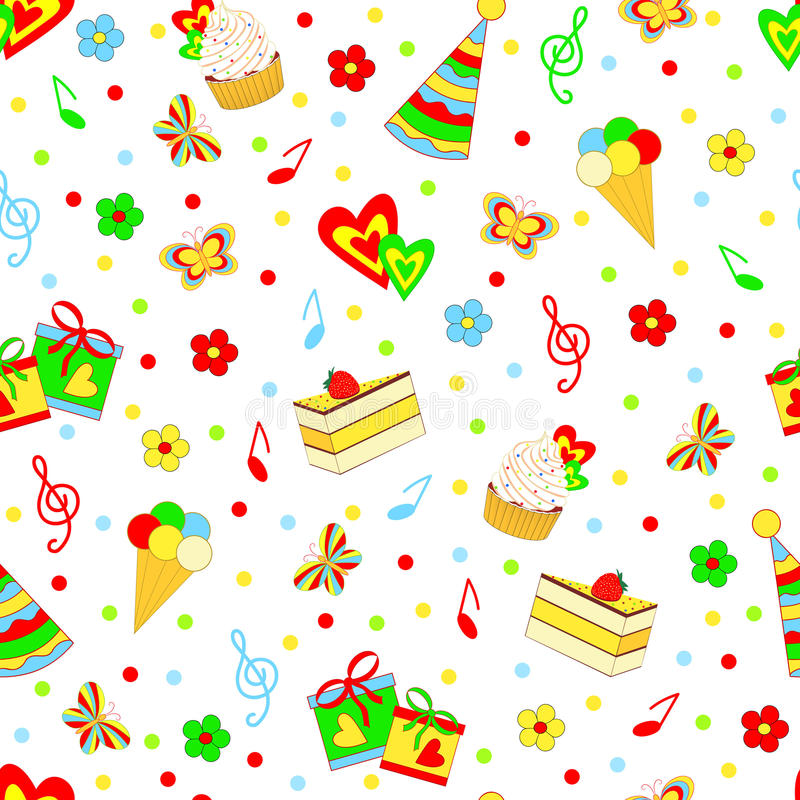 Birthday party. Seamless,pattern birthday party on the white backgroun,illustration,vector royalty free illustration