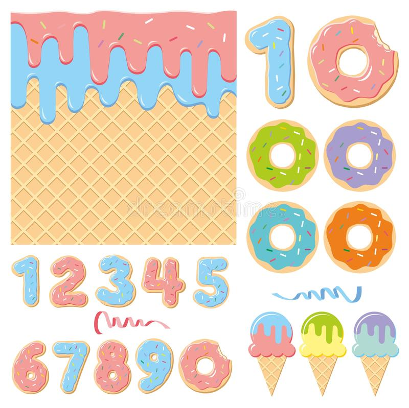 Birthday party sweet design elements stock photos
